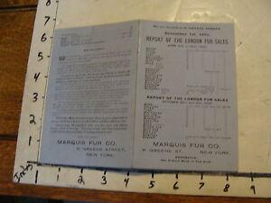 vintage Paper--MARQUIS FUR CO. london fur sales & price lists, in 1903 card.