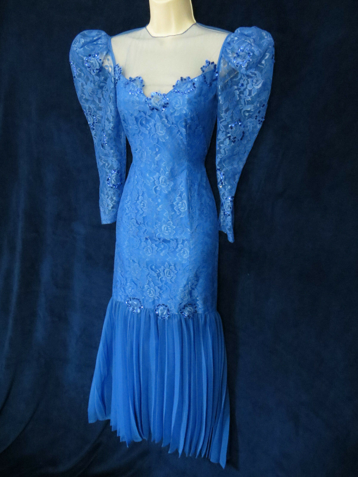 Vintage Glamour bluee Lace Sequin Mermaid Wiggle Formal Dress & Fascinator Hat XS