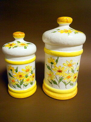 Vintage Sears Roebuck Ceramic China Canister Daisy Yellow Flower Set/2 JAPAN -78