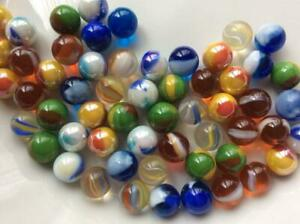 60 Mixed Peewee Glass Marbles 10 11mm Traditional Toy Marble Run Play Party Bags Ebay