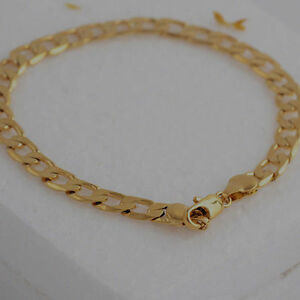10K-Yellow-Gold-Filled-GF-Flat-Curb-Chain-Bracelet-Bangle-21cm-Long-5mm-Wide