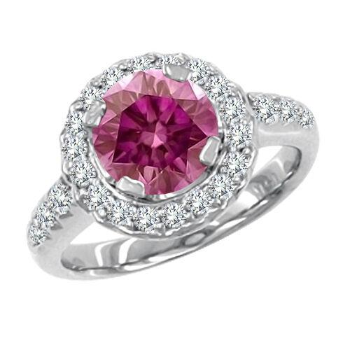 1.2 Carat Pink SI2 Round Diamond Solitaire Ring 14K WG Valentine Day Spl. Sale