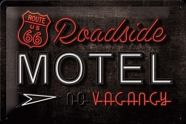 Plaque Enseigne Gaufré Route 66 Roadside Motel En Acier (na 3020)