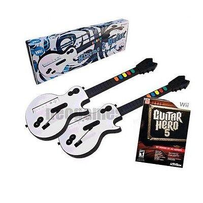 GUITAR HERO 5 Wii Bundle 2x Xtreme Wireless Guitars BUNDLE + Game CD *BRAND NEW*