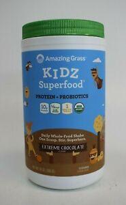 Amazing Grass  Kidz Superfood 10g Protein + Probiotics  Extreme Chocolate  10 oz
