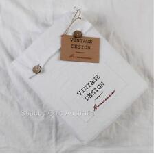 Hampton French Vintage White Linen Queen Bed Doona Duvet Quilt Cover Pillow Set