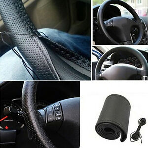 Hot-Car-Truck-Leather-Steering-Wheel-Cover-With-Needles-and-Thread-Black-DIY