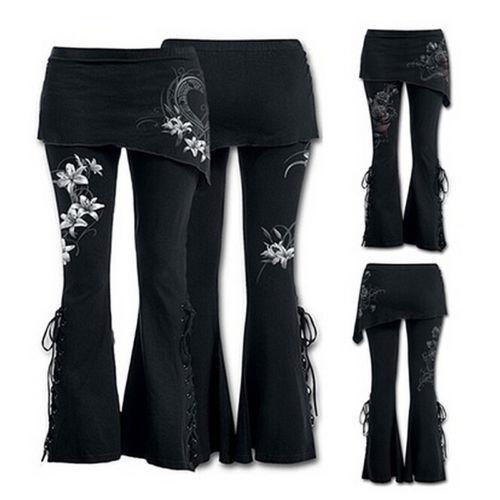 Womens Leggings Micro Slant Skirt Gothic Punk Pants Lace Up Bell Bottom New