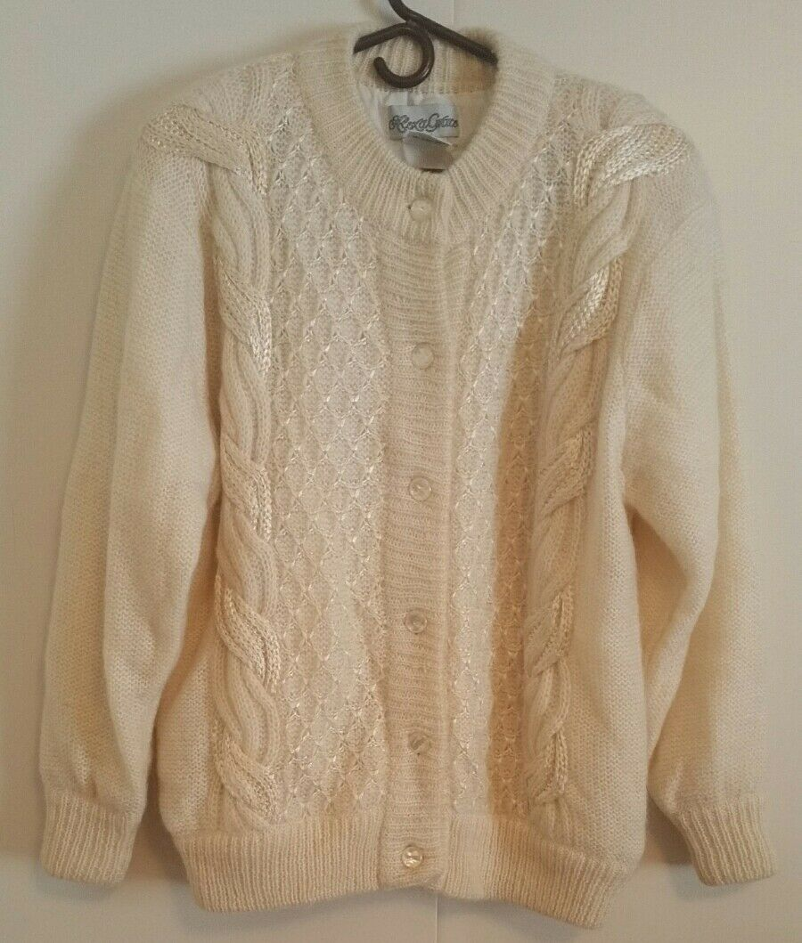 ALEXA GRACE LINED FANCY IVORY CABLE KNIT WOOL SWEATER CARDIGAN SIZE L CHEST 46