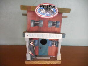 Details About Bird House National Bank Wood Decorative Inside Or Outdoor Look New