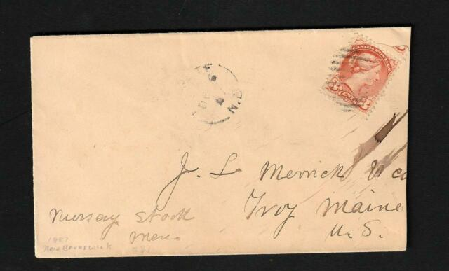 Canada 1887 Small Queen # 37 Cover from New Brunswick to Troy Maine US