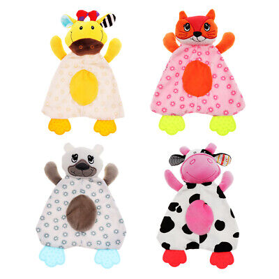 2 Pieces Baby Fleece Tag Teething Blanket Swaddle Towel Tagged Toy