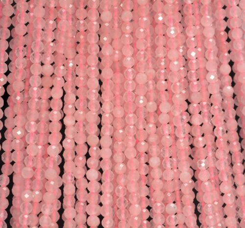 3MM PINK ROSE QUARTZ GEMSTONE GRADE AAA MICRO FACETED ROUND LOOSE BEADS 15/""