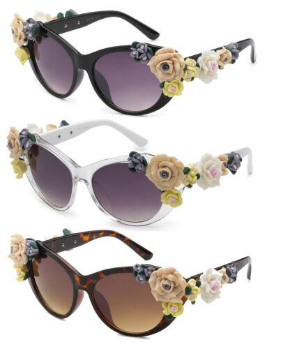 Retro Large Cat Eye Soft Handmade 3D Rose Floral Flower Decor Women Sunglasses