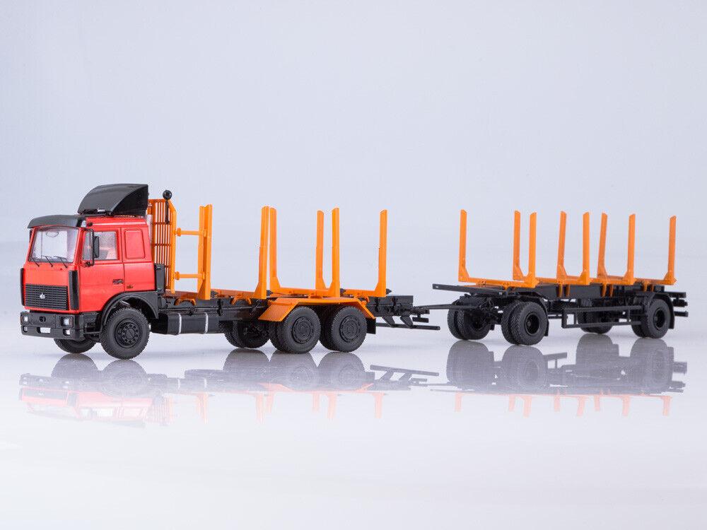 Modelo de escala camión 1 43 MAZ-6303 máquina de clasificar con remolque MAZ-83781