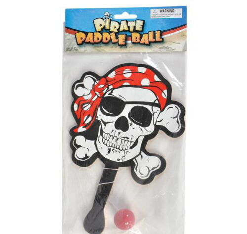 SKULL 8 PIRATE PADDLE BALLS 9 INCH PARTY FAVOR GAME BIRTHDAY CARNIVAL ETC