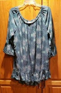 Terra-amp-Sky-Bell-Sleeve-Floral-Print-Pullover-Peasant-Tunic-Top-Plus-Size-2X