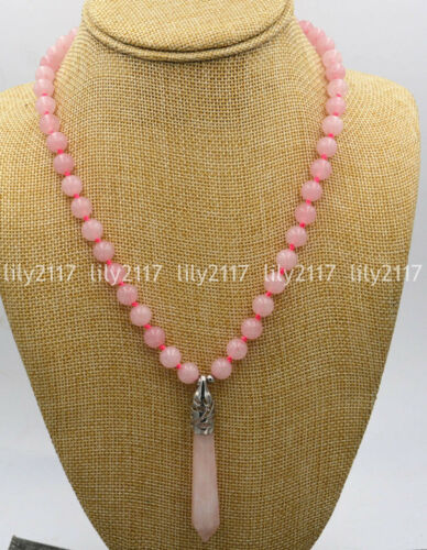 "Belle 8 mm Naturel Rose Quartz hexagonale Pierres Précieuses Perles Collier Pendentif 18/"""