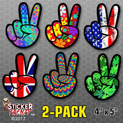 2 Pack Peace Sticker Floral Design Decal Vinyl