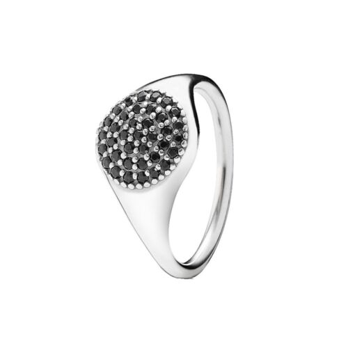 925 Sterling Silver Black Stones Pave Ring
