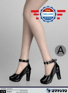 ZY Toys 1//6 scale BLACK High Heel Pumps Shoes for 12/'/' female figure PHICEN