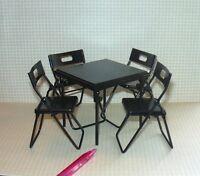 Miniature Black Folding Metal Card Table W/4 Chairs: Dollhouse 1/12 Scale