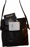 Black Small Handbag Leather Shoulder Bag Swing Pouch Passport Bag Brand