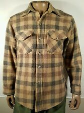 Vtg Woolrich TAN BROWN GRAY PLAID Wool Shirt-Jac Coat M jacket 60s Hunting USA