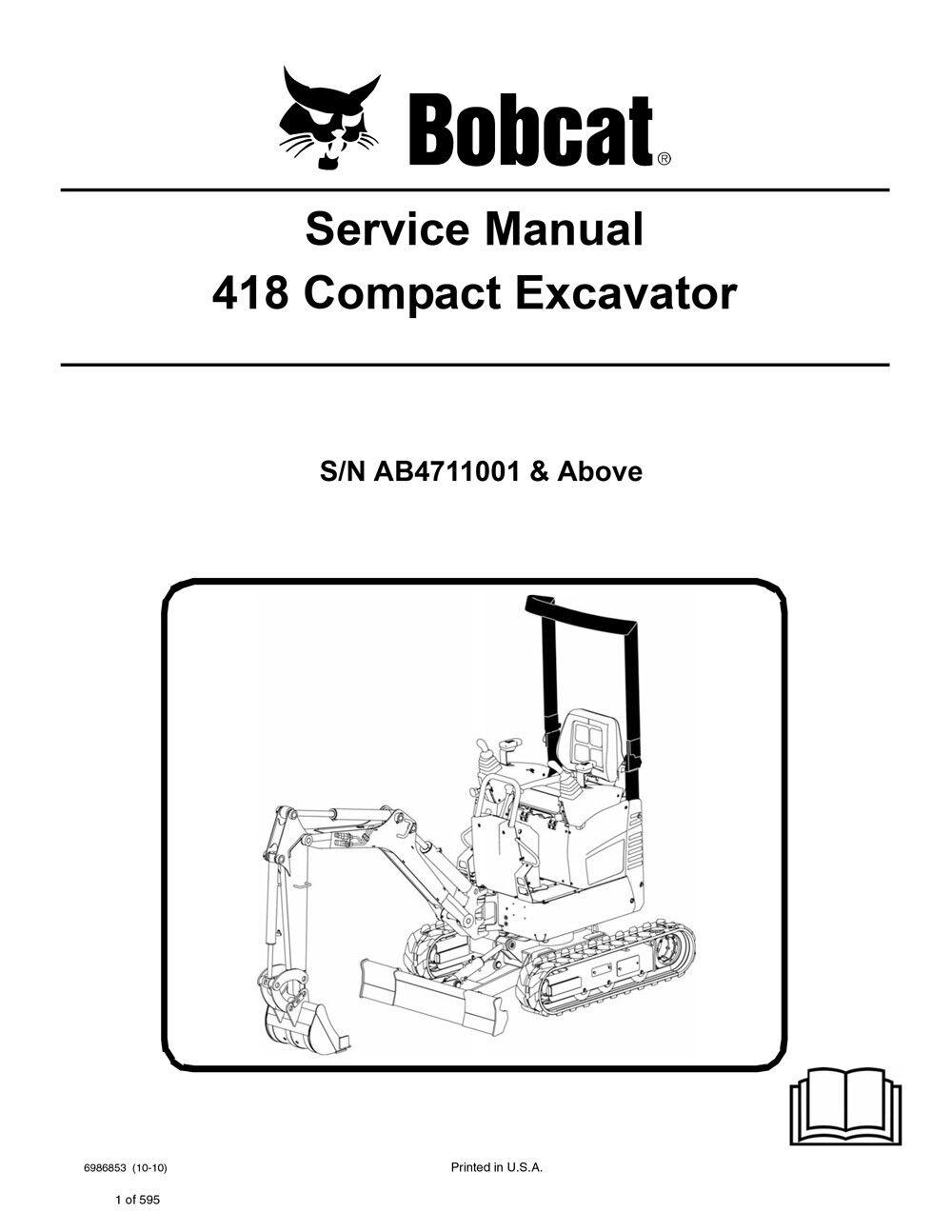 Bobcat 418 Compact Excavator Repair Service Manual 590 Pgs 2010 Rev 6986853    eBay