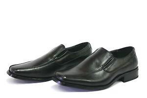 Men's Dress Shoes Slip on Moc Toe Leather Lined Formal Loafers Black  Brand New
