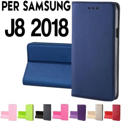 Custodia per Samsung J8 2018 chiusura magnetica Libro Portafoglio cover Tpu