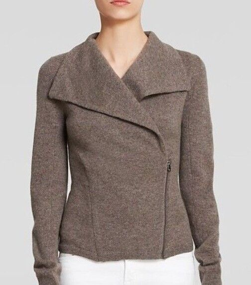 C by Bloomingdale's Cashmere Asymmetrical Zip Up Moto Jacket Sweater Size M $278