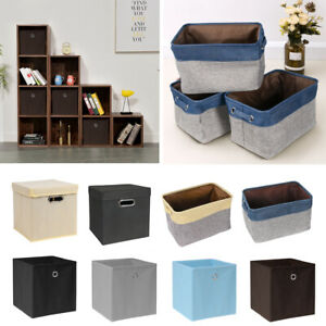 2-10Pcs-Foldable-Fabric-Storage-Cube-Box-Baskets-Bin-Toy-Books-Clothes-Organiser