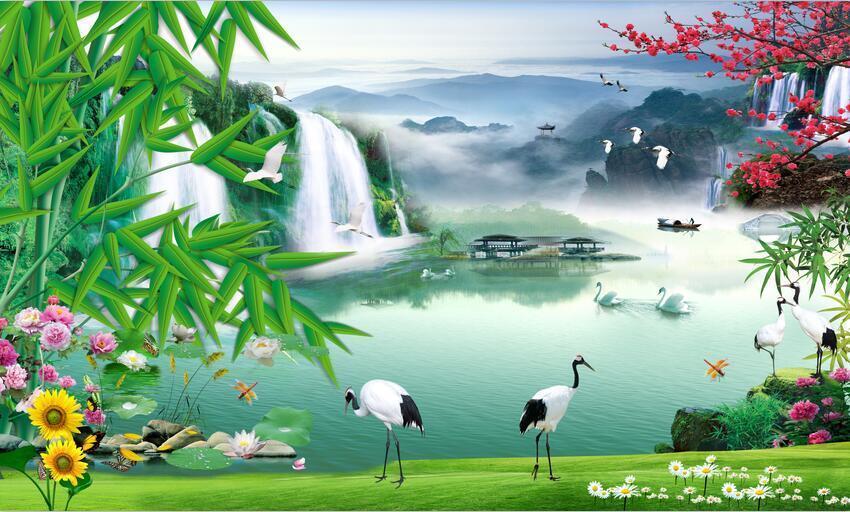 3D Wasserfall Wasserfall Wasserfall Landschaft 7885 Tapete Wandgemälde Tapeten Bild Familie DE Kyra | Online Kaufen  | Perfekte Verarbeitung  |  1589aa