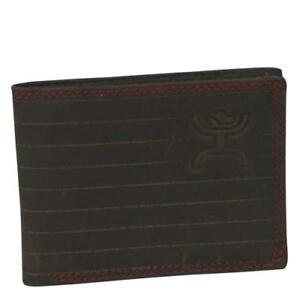 ad3dcb25b5b2 Details about HOOey Western Mens Wallet Pinstripe Bifold Signature Leather  Brown 1535161W2