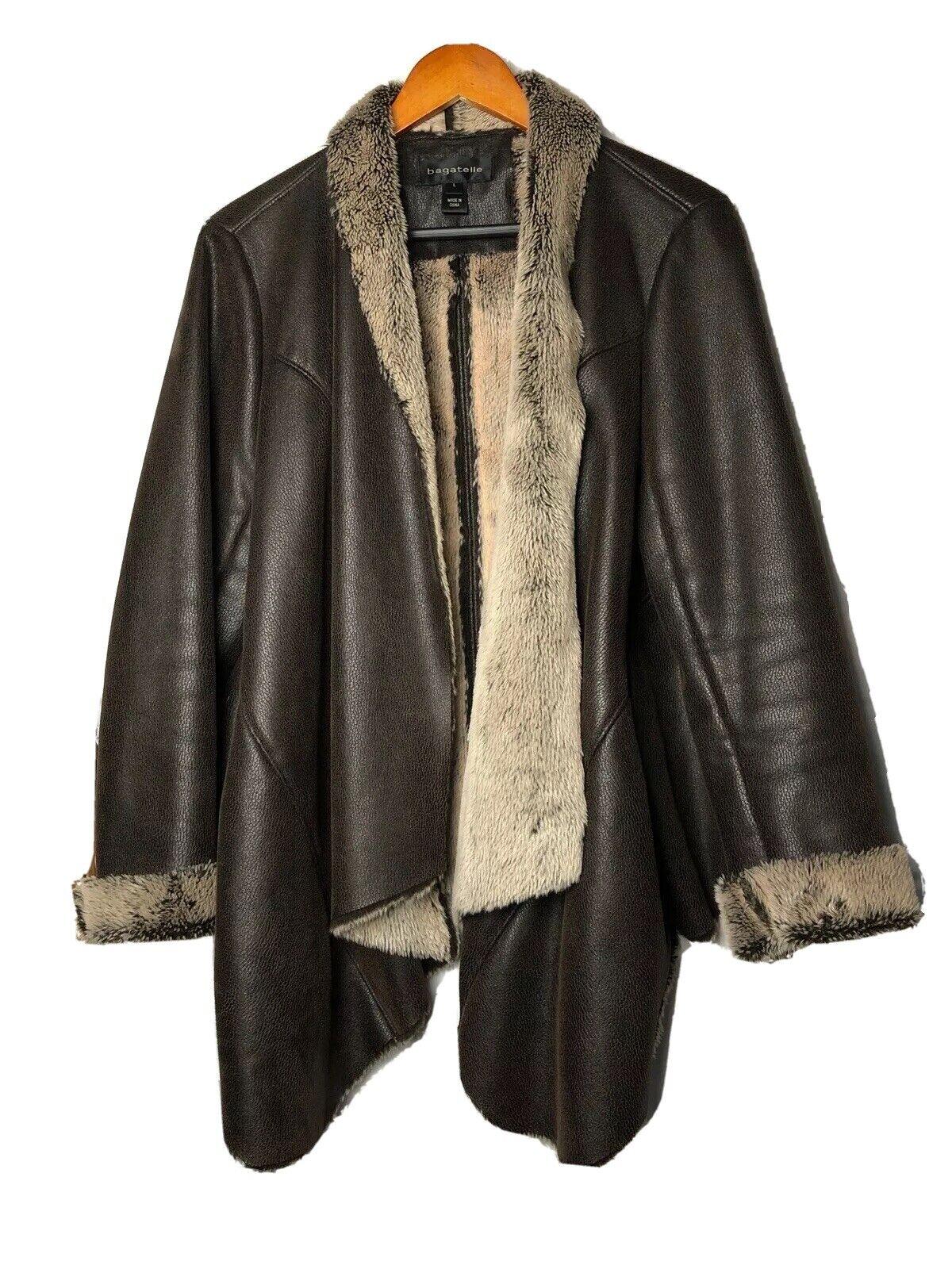 Bagatelle Brown Leather Jacket Faux Fur Lined Drape Large
