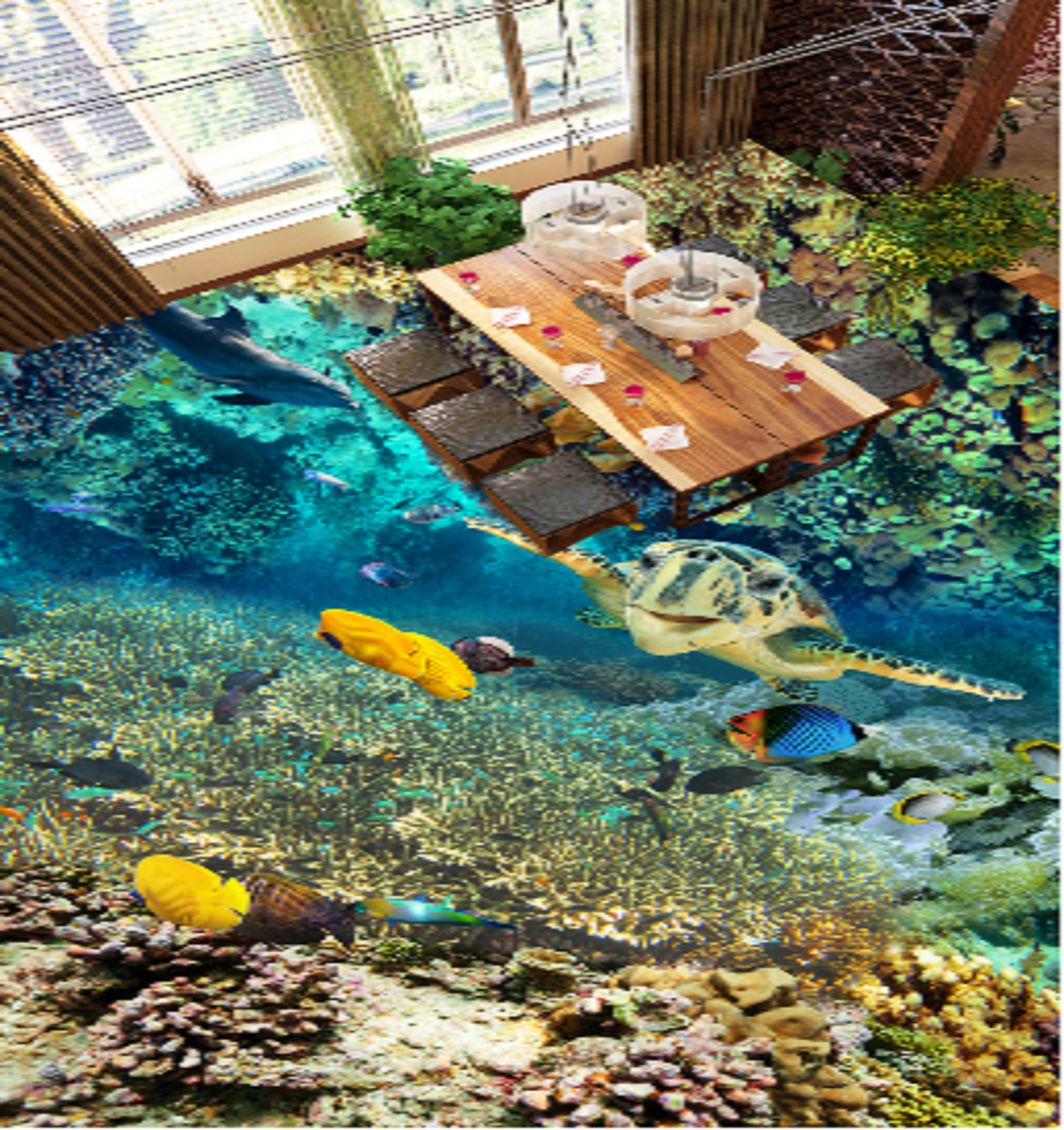 3D Cute Turtle Sea 783 Floor WallPaper Murals Wall Print Decal AJ WALLPAPER US