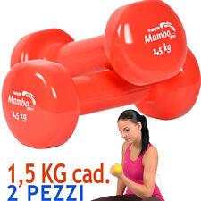Msd 2 MANUBRI 1,5 Kg cad VINILE LAVABILE ROSSO peso tot 3 Kg Pesi Sport Braccia