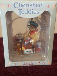 Enesco Ornament Cherished Teddies #499781 Bear on Suitcase 1997