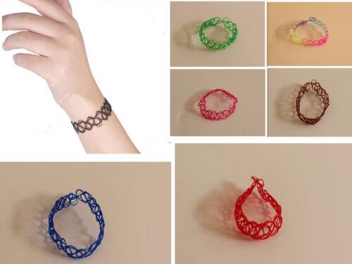 Années 90 Unisexe Enfants Filet Tissage Design Plastique Solide élastique Stretch Gothique Bracelet