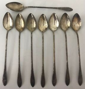 Details About New England Rosemary Silverplate Ice Tea Spoons Lot Of 8 Long Handled