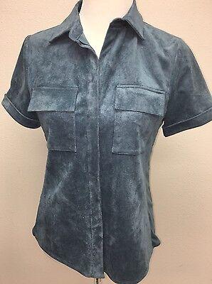 BCBG Max Azria Womens Sequined Faux Suede Puff Sleeves Crop Top Shirt BHFO 0743