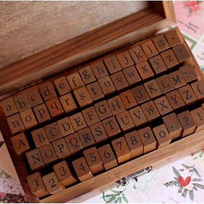 70Pcs Vintage Wooden Box Case Rubber Stamps Set Alphabet Letters Number Craft HG