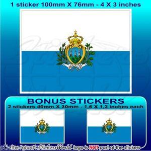 SAN-MARINO-Etat-Drapeau-Vinyle-Sticker-Autocollant-100mm-x1-2-BONUS