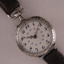 Early Fully Serviced Cylindre '1900 Antique Swiss Silver Wrist Watch Perfect