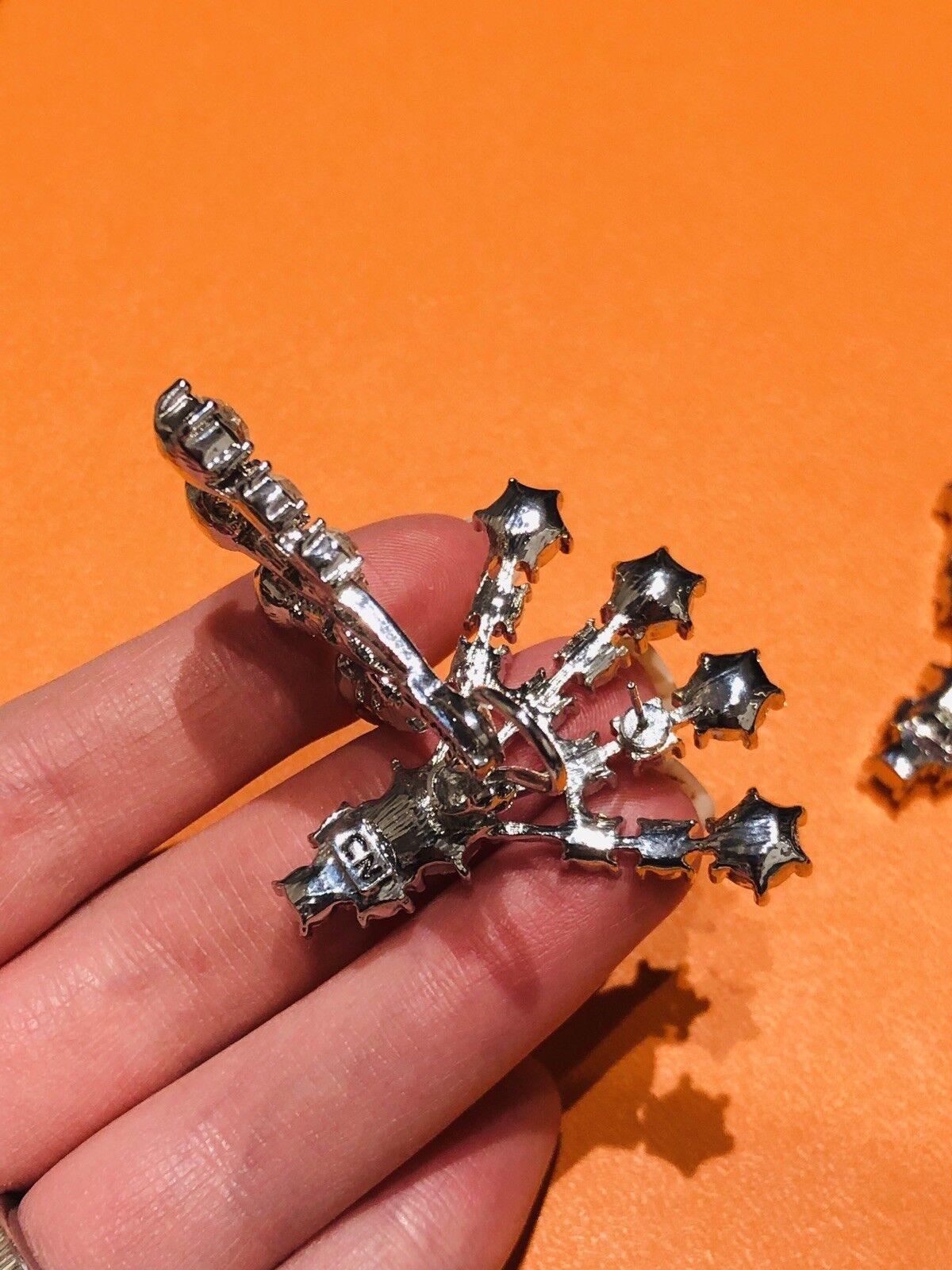 Arnold Scaasi Silver Tone Crystal Fan Earrings - image 4