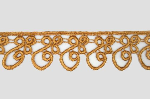 """5//8/""""~5-1//8/"""" Wide Gold Bronze Taupe Floral Embroidered Venice Lace Trim by Yard"""