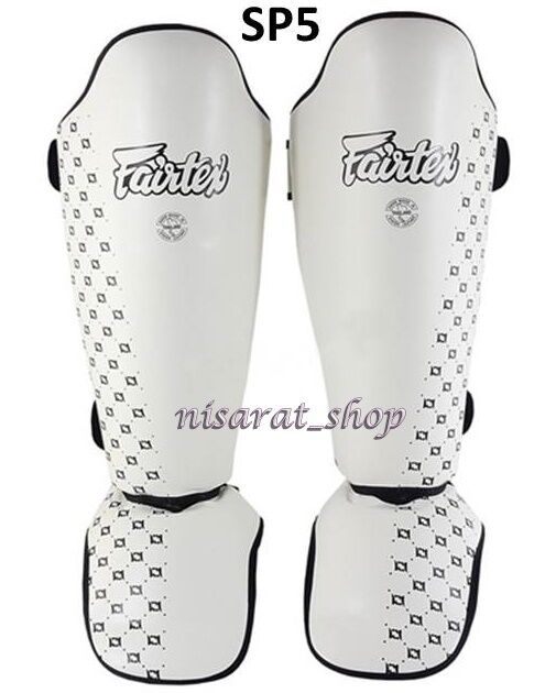 FAIRTEX SHIN GUARDS PADS SP5  WHITE TWISTED SPARRING  MUAY THAI BOXING MMA.  up to 42% off