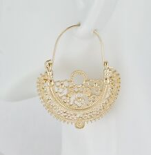 Gold earrings hoops filigree medallion earrings door knocker hoop huggie