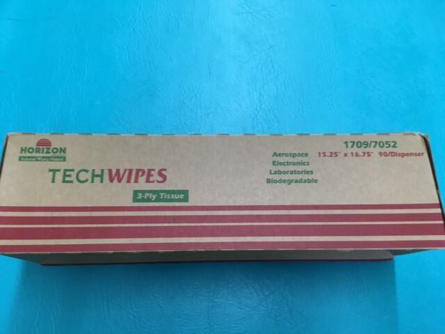 "5 Boxes Horizon Industries 1709//7052 Tech Wipes 90//Dispenser 3-Ply 15/""x16.75/"""